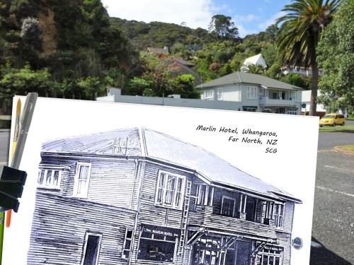 Sketching-FarNorthNZ-HistoricMarlinHotel-SusanCharlotteGraphics