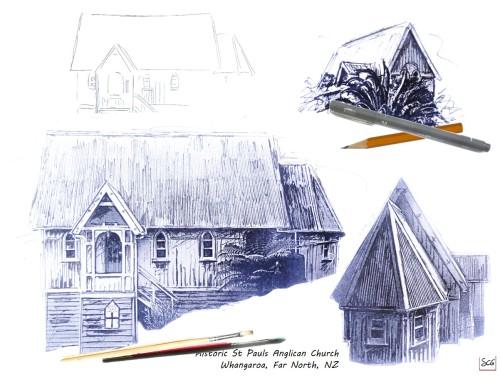 Sketching-FarNorthNZ-HistoricStPaulsChurch-Whangaroa-SusanCharlotteGraphics